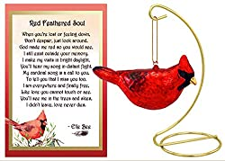 red cardinal ornament with poem card