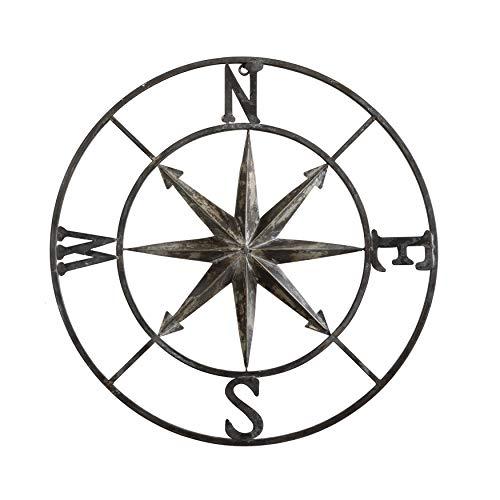 round metal compass wall decor
