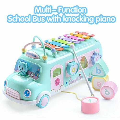 school bus blue toy for babies