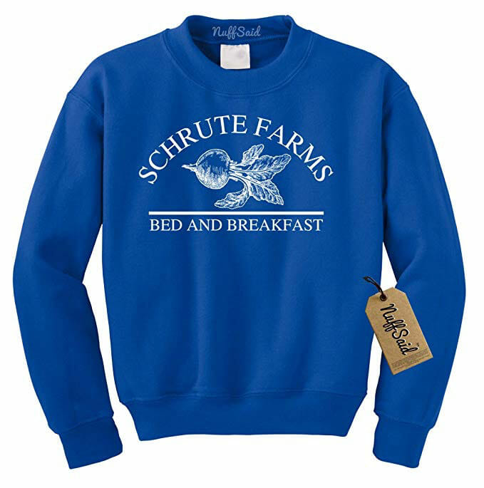 blue sweater with the schrute farms logo on it