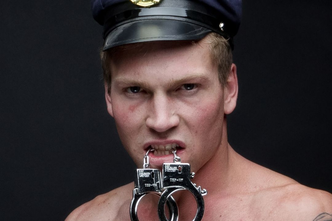 sexy man with handcuffs