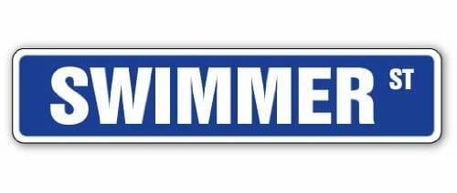 swimmer street sign