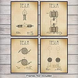 Tesla patent  art prints set