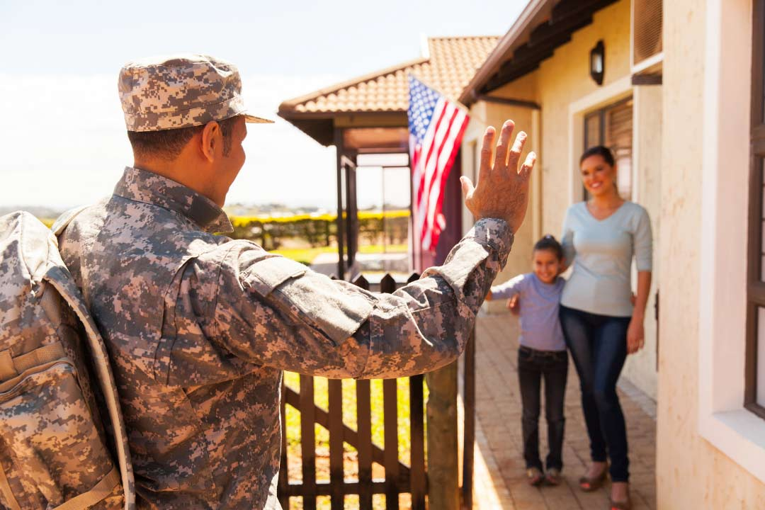 veteran soldier coming home to his family