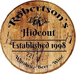 whiskey barrel head bar sign