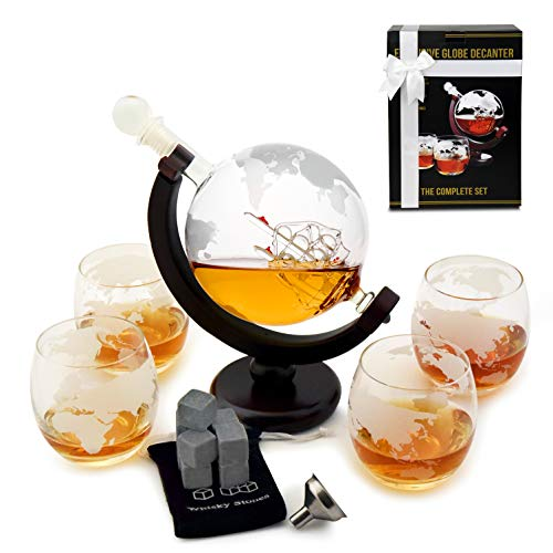 whiskey decanter set globe glasses