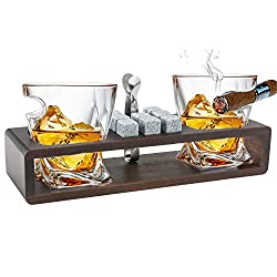 whiskey glasses with cigar rest
