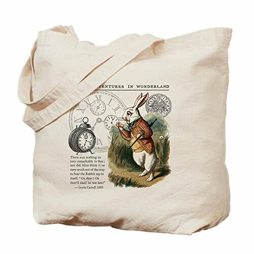 white rabbit canvas bag