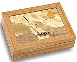 wooden art boat box