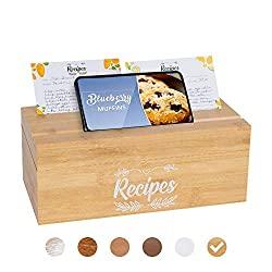 wooden recipe box organizer