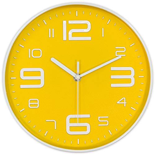 yellow color wall clock
